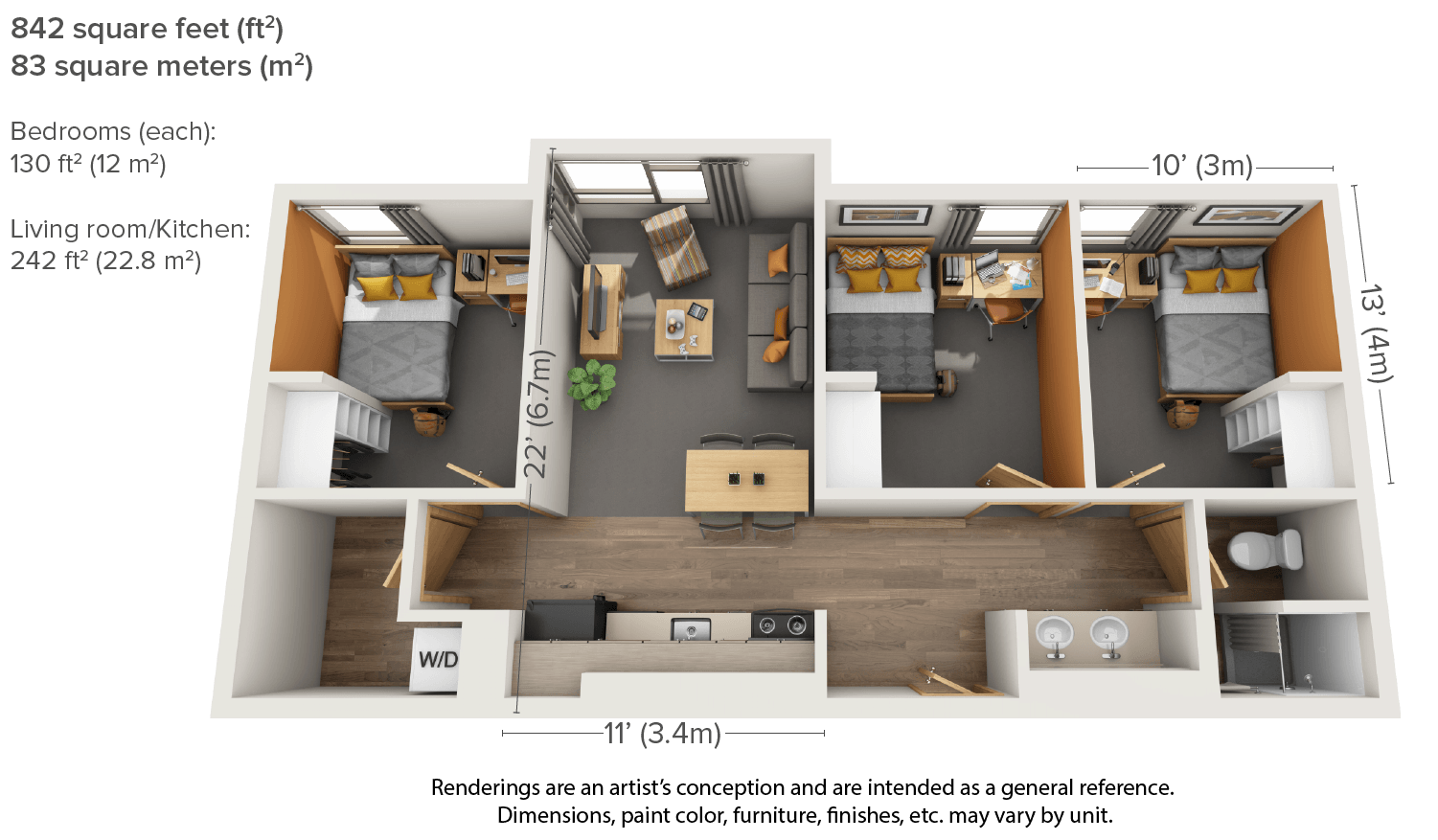 Three Bedroom Floor Plan For New Aggie Apartments